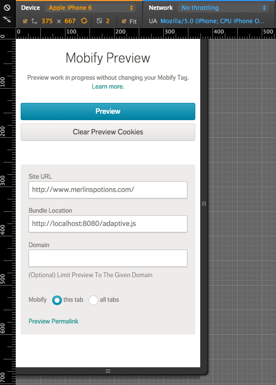Mobify Preview in a simulated device view in Chrome.